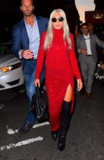 Lady Gaga In a high slit red dress while out and about in New York City