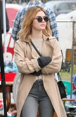 Lucy Hale Debuts new blonde hair as she does a little bit of shopping at a local flea market in Pasadena