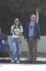 Natalie Portman Walks and talks with a friend after lunch in LA