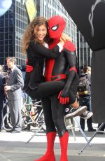 Zendaya At the Spider-Man Far from Home movie set outside the Penn Station, Manhattan