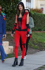 Alessandra Ambrosio Dresses up as a sexy red ninja for Halloween in Santa Monica