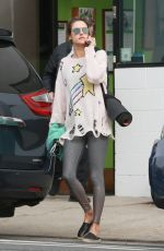 Alessandra Ambrosio Makes a call as she leaves her morning yoga class in LA