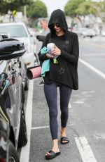 Alessandra Ambrosio Strolls back to her car after a morning yoga class in Santa Monica