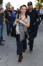 Alyssa Milano Arrives to World Series game between the Dodgers and Red Sox in Los Angeles