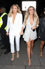 Amber Turner Wears all white on a night out with friends at Faces Nightclub in London