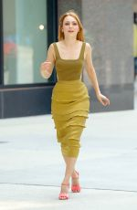 AnnaSophia Robb Wearing an olive green dress in New York City