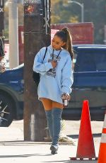 Ariana Grande Arrives for another long day of work at a music studio in Hollywood