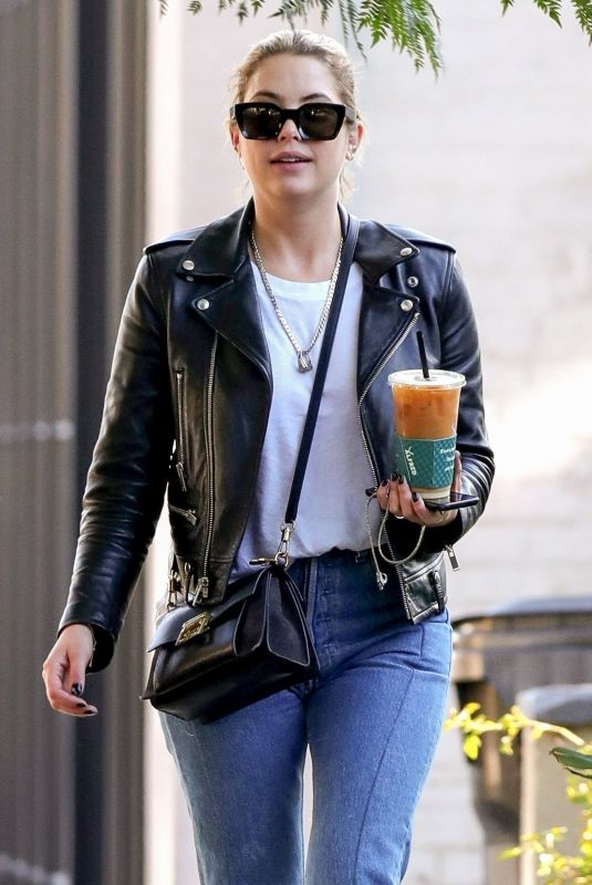 Ashley Benson Out for coffee with a male friend at Alfred