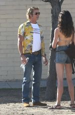"""Brad Pitt & Margaret Qualley On the set of """"Once Upon A Time In Hollywood"""" in Los Angeles"""