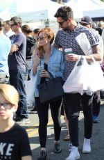 Brittany Snow and Tyler Stanaland go shopping at the LA Farmer