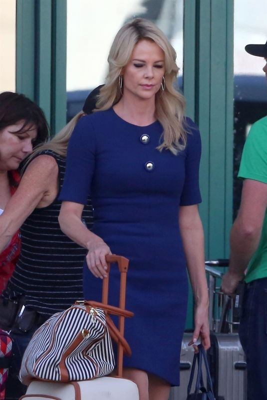 Charlize Theron On the set of the Roger Ailes biopic in Los Angeles