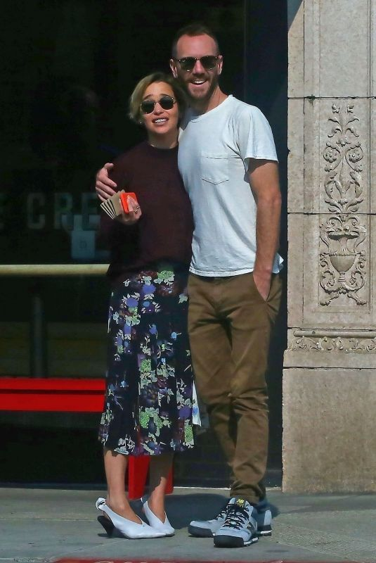 Emilia Clarke & Charlie McDowell Out doing some window shopping in Venice Beach
