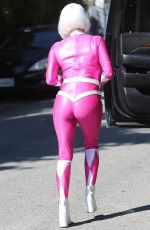 Fergie In Halloween Costume leaving her house in Santa Monica