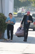 Hilary Duff and new dad Matthew Koma bring their newborn out for a coffee run in LA