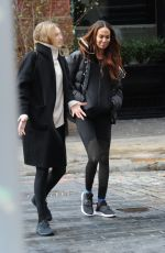 Joan Smalls Says goodbye to a friend after lunch in SoHo