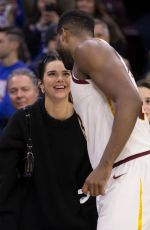 Kendall Jenner Watches the game the Cleveland Cavaliers and Philadelphia 76ers in Philadelphia