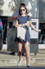 Lea Michele In Short Skirt Leaving Restaurant in LA