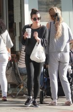 Lea Michele Picking up some food and coffee to go from a restaurant in LA