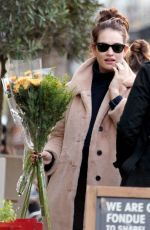 Lily James Buying flowers in Hampstead