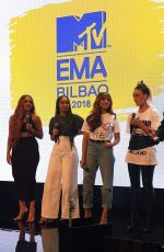 Little Mix Speak at the Viacom Showcase ahead of the MTV EMAs 2018 in Bilbao