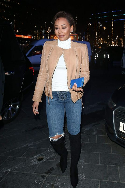 Melanie Brown Arriving at Global Radio in Leicester Square in London