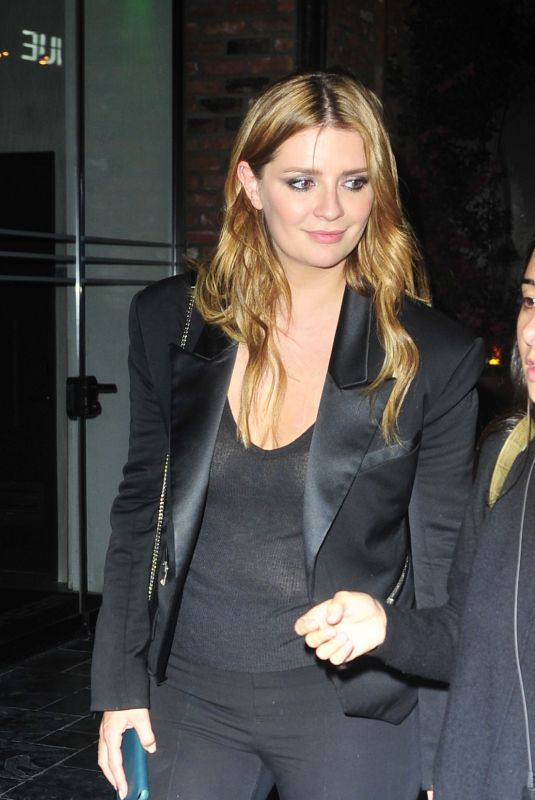 Mischa Barton Wears a black suit at Tao LA for dinner in Los Angeles