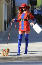 Phoebe Price Sports a Christmas themed sweater while shopping in Beverly Hills