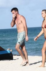 Selena Weber and her boyfriend on the beach in Miami