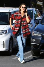Alessandra Ambrosio Goes for plaid arriving at a skin care place in LA