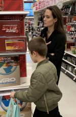 Angelina Jolie Enjoys a pre Christmas shopping at target in West Hollywood