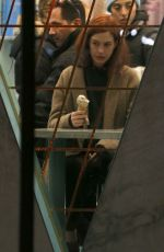 Anne Hathaway Licks an ice cream cone at Van Leeuwen on the set of