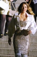 Blake Lively Hustles down the stairs as she departs the Chanel Metiers D