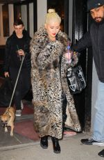 Christina Aguilera Exits a NYE rehearsal with her furry friend at SIR Studios in NYC