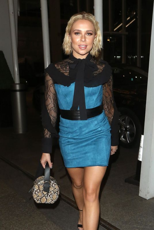 Gabby Allen Leaving Oh Polly Christmas Party at Shangri-La Hotel at The Shard, London
