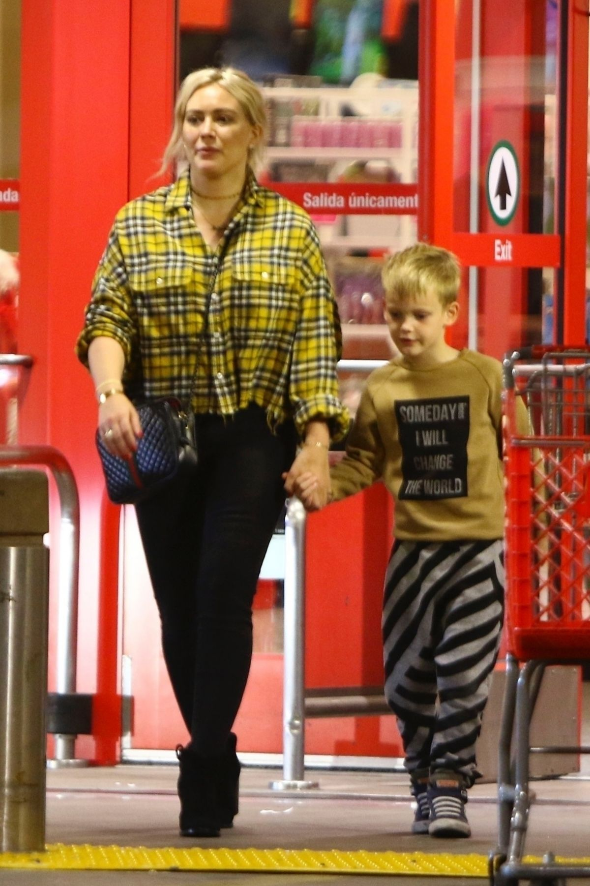 Hilary Duff and Matthew Koma go shopping with Luca at Target in