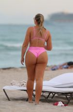 Iskra Lawrence In a pink bikini at the beach in Miami