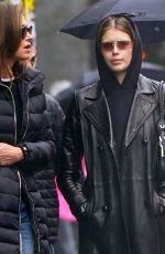 Kaia Gerber Out and about wearing Matrix-like outfit when going to lunch with her parents Cindy Crawford and Rande Gerber in NY