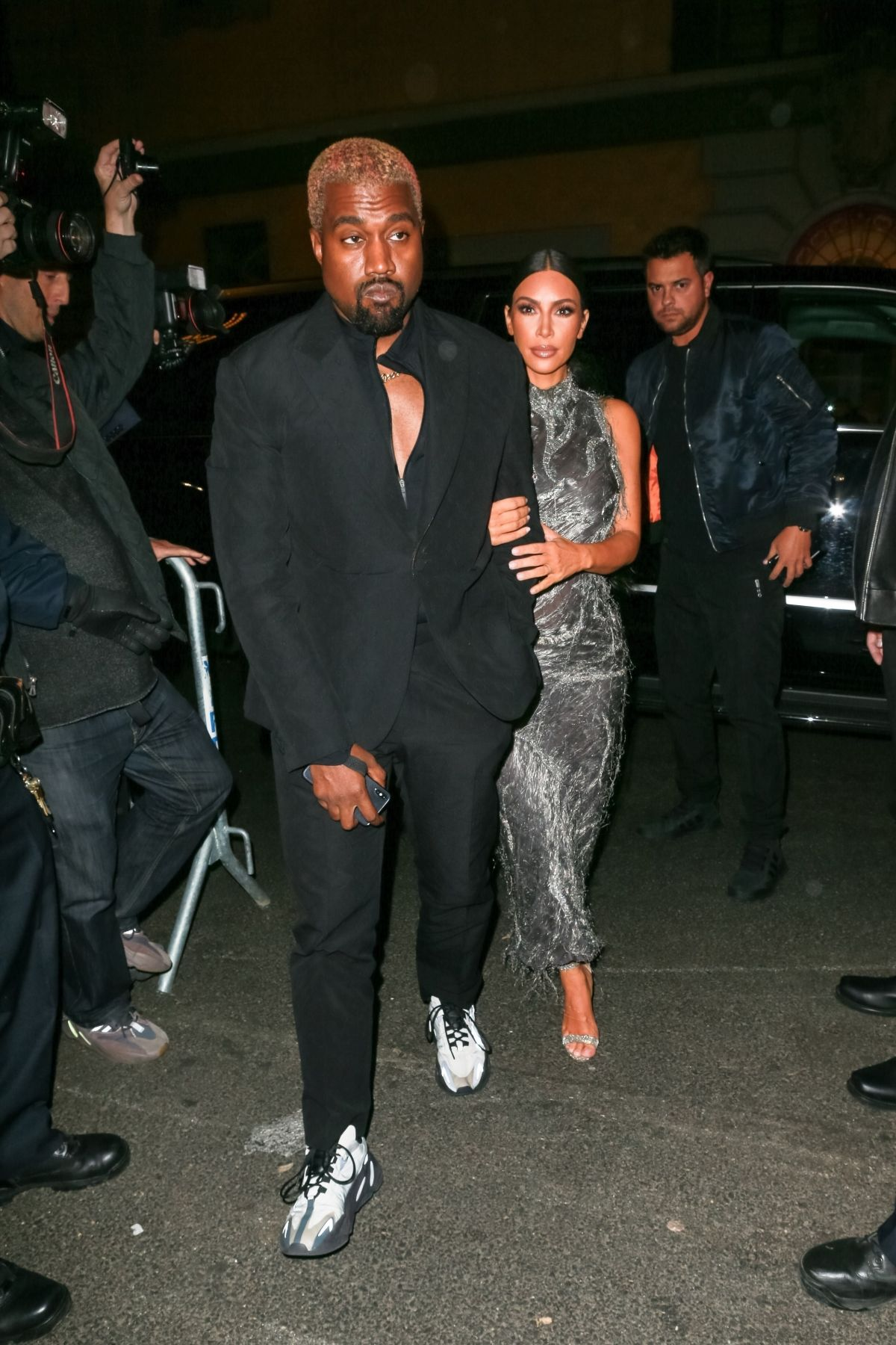 33c3daaee9da Kim Kardashian and Kanye West look dressed up for the Cher musical in New  York