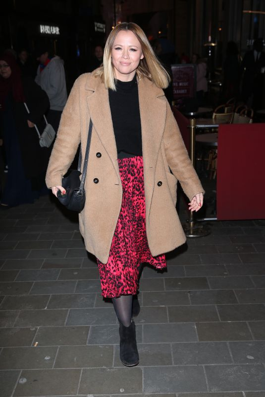 Kimberley Walsh Arrives at Gaby Roslin special Christmas show at the Zedel Brasserie, London