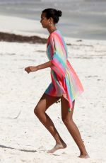 Lais Ribeiro Posing for a photoshoot on the beach in Tulum, Mexico