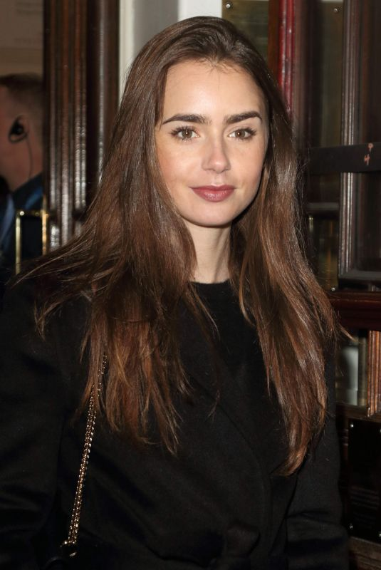 Lily Collins At the Vaudeville Theatre in London