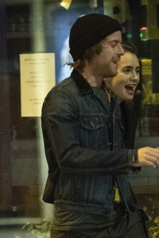 Lily Collins & Harry Treadaway Leaving Lily