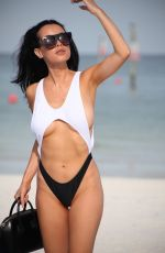 Lisa Opie In one piece swimsuit on Miami Beach