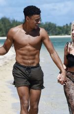 Megan Barton Hanson At horse riding along the beach with Wes Nelson while on a romantic holiday in Mauritius