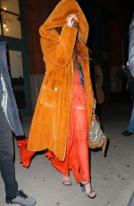 Paris Jackson Covers her face with a fur hoodie as leaving an event in New York City