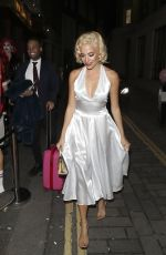 Pixie Lott Channels Marilyn Monroe as she departs a Pre Christmas Meal at Mrs Foggs