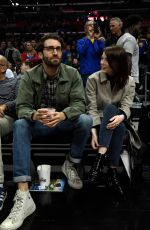Emma Stone At Golden State Warriors v Los Angeles Clippers basketball game in LA