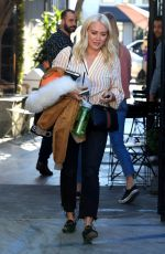 Hilary Duff In new platinum blonde hair as she leaves a salon in West Hollywood