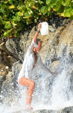 Lady Victoria Hervey In a white bikini as she hits the beaches of Barbados