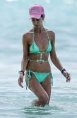 Lady Victoria Hervey In green bikini On a beach in Barbados